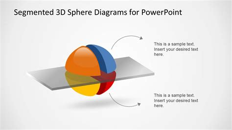 3 step spherical segmented diagram for powerpoint slidemodel 3d segmented spheres diagram template for powerpoint