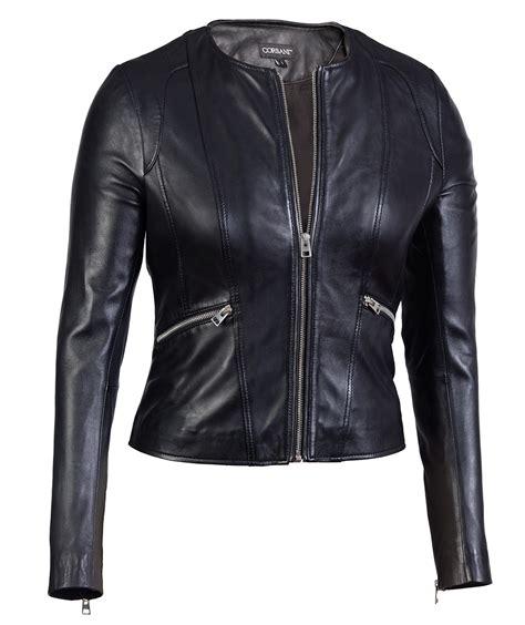 Genuine Leather Jacket womens collarless neck black genuine leather jacket