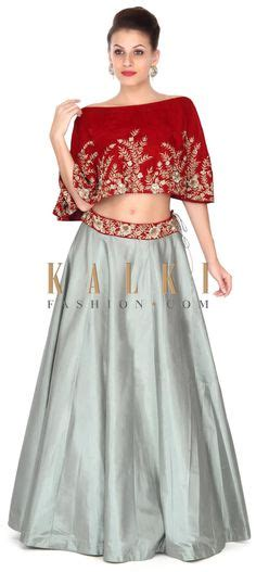 Marissa Cape Blouse Maroon teal green lehenga by manish malhotra on thedelhibride