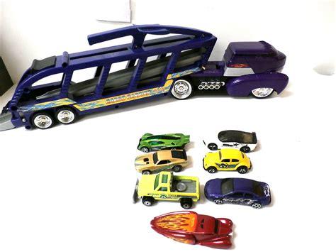 Hotwheels Purple 2002 Putih wheels car carrier transporter truck 2002 purple w 7 cars htf contemporary manufacture