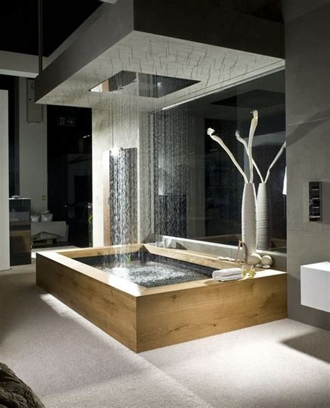 wooden bath  overhead rain shower  natural elements