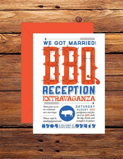 barbecue wedding reception invitation wording casual customizable bbq wedding reception by srinvitations