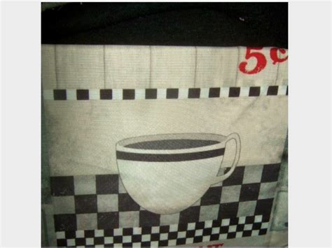 Coffee Kitchen Curtains Diner Coffee Cups Kitchen Curtains Set Grommets Retro Look Valance And Tiers