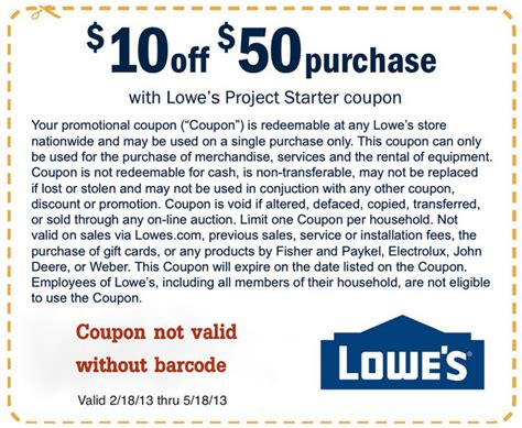 lowe s 10 50 printable coupon save up to an