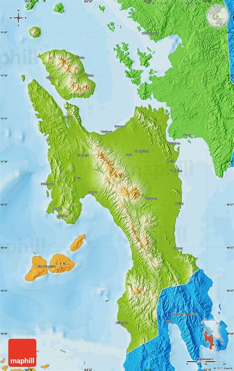 physical map of philippines physical map of leyte political outside