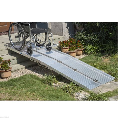 aluminum wheelchair ramp loading scooter mobility handicap ramps  choice ebay