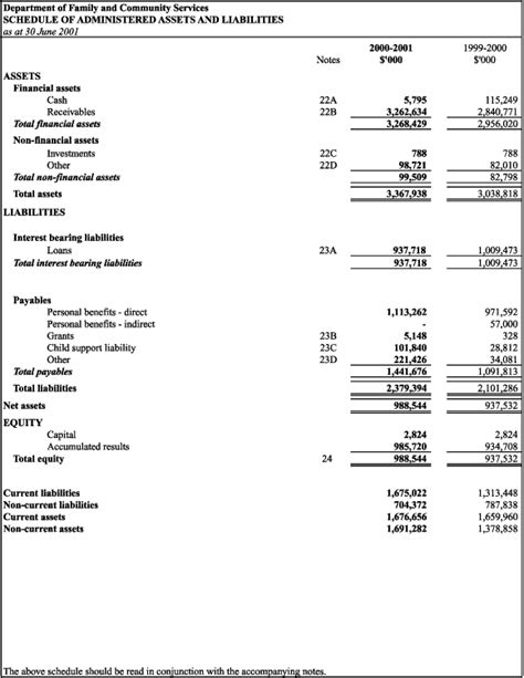 statement of assets and liabilities template facs annual report 2000 01 gt part five financial