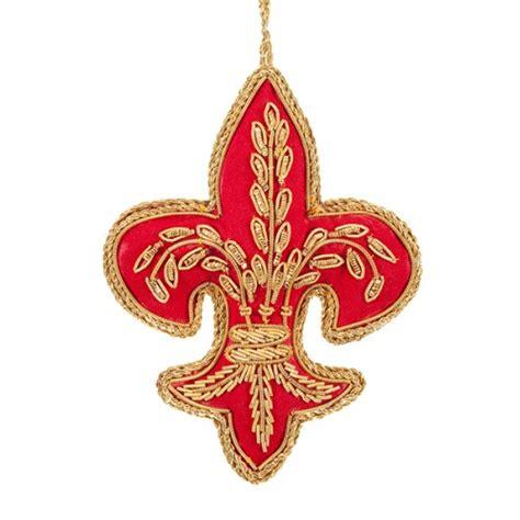 red and gold fleur de lis christmas decoration