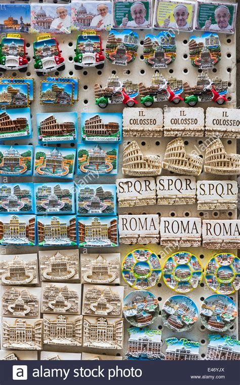display of colourful fridge magnet souvenirs of rome italy stock photo royalty free image