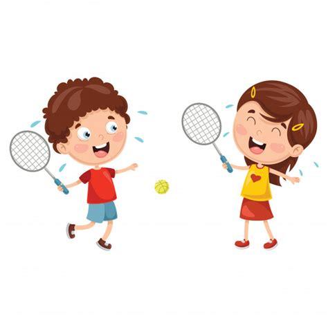 Clipart Bambini Giocano Illustrazione Vettoriale Di Bambini Giocano A Tennis