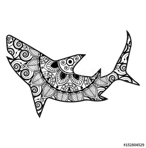 shark mandala coloring pages vector illustration of a shark silhouette for coloring