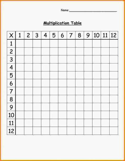 Blank Times Table Chart Printable