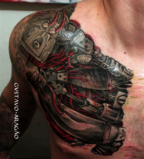 skinny arm tattoos tatouage pec biomechanical tattoos ripped skin