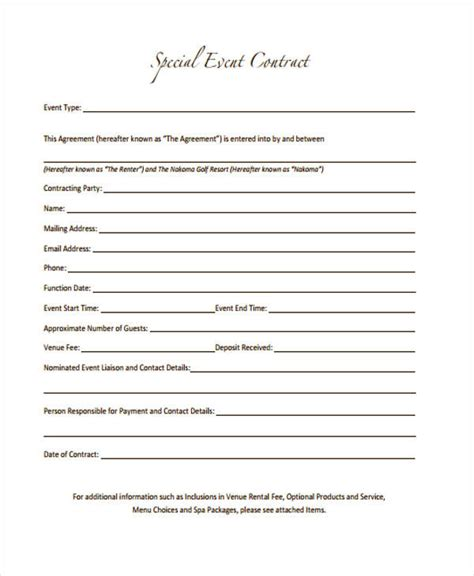 11 Event Contract Templates Free Sle Exle Format Event Contract Template