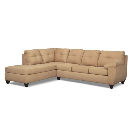 one piece sectional ricardo 2 piece sectional with left facing chaise camel