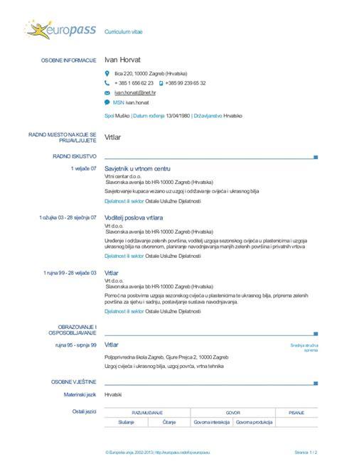 european cv format hrvatski europass cv hr 1