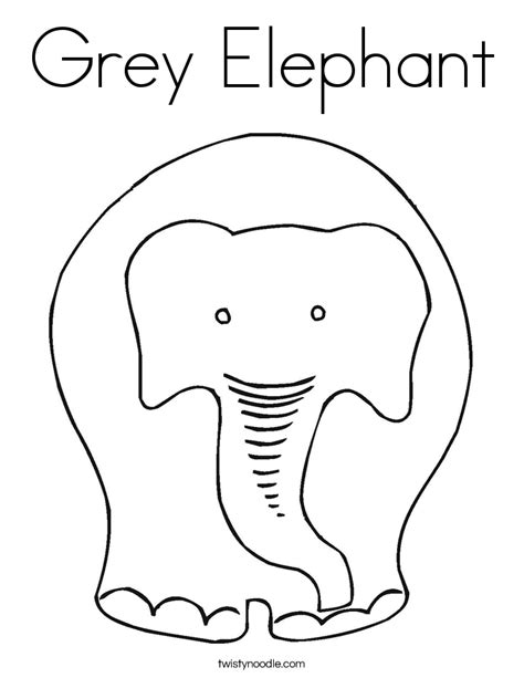 Grey Elephant Coloring Pages | grey elephant coloring page twisty noodle