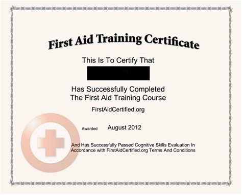 first aid certificate template first aid certificate