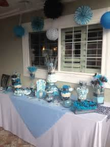 blue black and white baby shower table baby