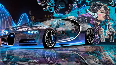 wallpaper 4k graffiti bugatti chiron super crystal city graffiti girl street car