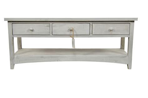 meuble console bois ceruse blanc 3 tiroirs 110x38x45cm