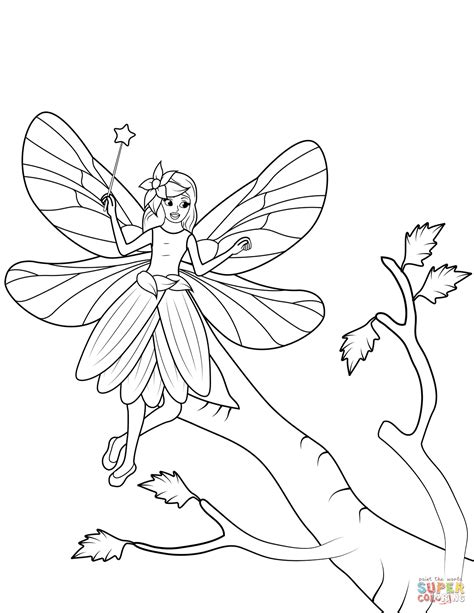 princess wand coloring pages fairy with wand flies over a tree coloring page free