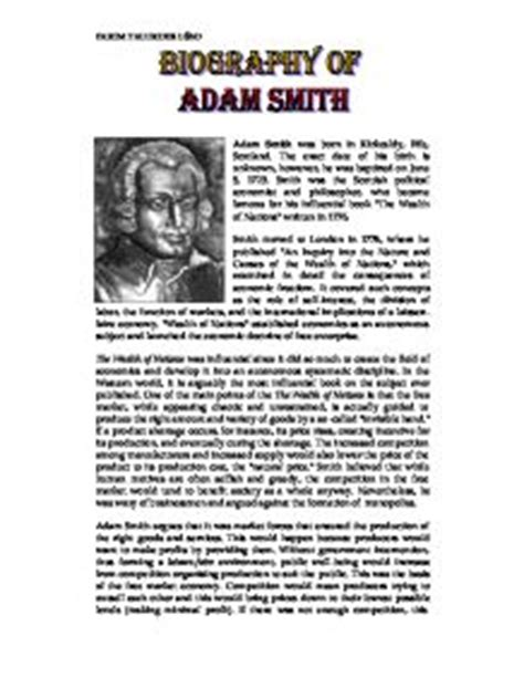 Adam Smith Essay by Biography Of Adam Smith Gcse Business Studies Marked By Teachers