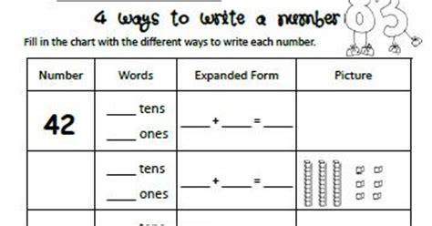 Different Ways To Write A Number Worksheet
