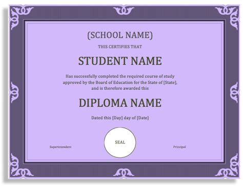 degree certificate template school degree certificate template microsoft word templates