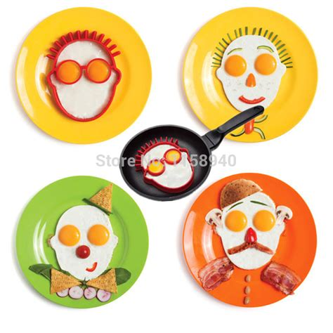 Egg Pancake Rings Clown Shape Pencetak Telur 1 1 Pcs Shaped Silicone Omelet Creative Clown