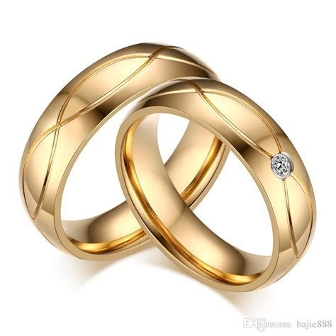 2019 New Wedding Bands Couple Rings For Women Men Gold