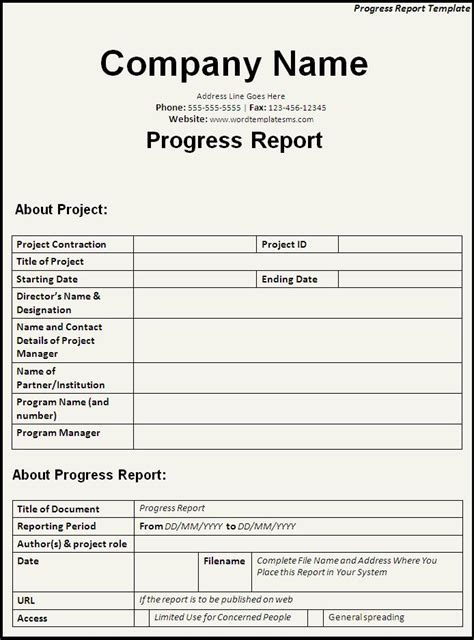 company progress report template free helloalive