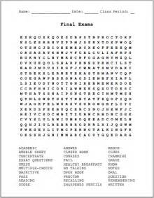 Final exams free printable word search puzzle student handouts