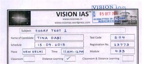 Vision Ias Essay Test Series by Upsc 2015 Topper Tina Dabi Answer Booklet Essay And Others Vision Ias Qmaths Ssc Cgl Guide