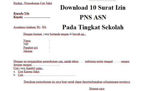 Surat Izin Pns by 10 Surat Izin Pns Pada Tingkat Sekolah Guru