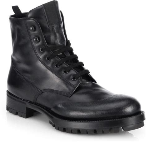 prada combat boots prada laceup leather combat boots in black for lyst