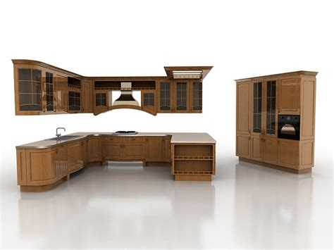 Kitchen Cabinet Models by Open Kitchen Concept Design 3d Model 3ds Max Files Free