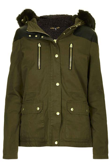 Padded Parka topshop padded parka jacket in khaki lyst
