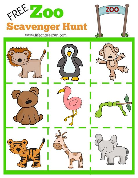 printable zoo animals for preschoolers printable zoo scavenger hunt zoo scavenger hunt