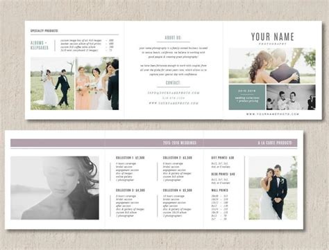 Photography Pricing Template Trifold Card For Photographers Product Pricing Guide Template Bridal Guide Template For Photographers