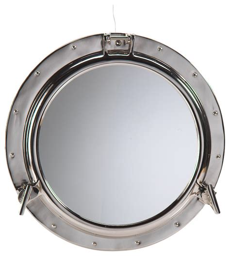 porthole polished nickel mirror industrial bathroom