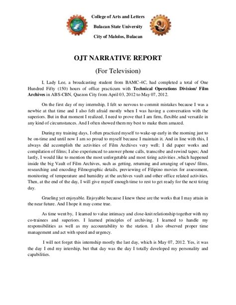 sle of narrative report for students ojt narrative report