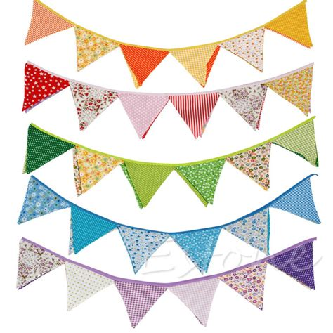 Garden Bunting Accessories by New Colorful Fabric Flags Banners Wedding Decor Bunting