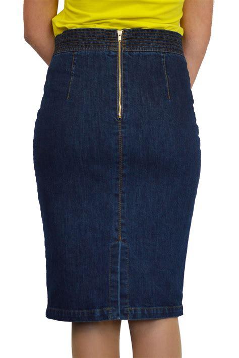 new casual knee length pencil blue denim skirt f