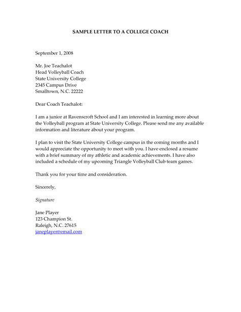 College Query Letter sle letters to college coaches pertamini
