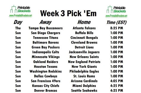 printable nfl thursday night schedule week 3 schedule opens with buccaneers battling falcons on