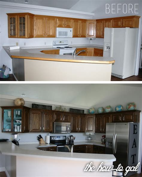 How To Restain Kitchen Cabinets | the how to gal how to refinish kitchen cabinets