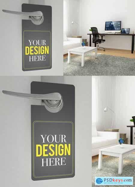 disturb door hanger mockup  home office
