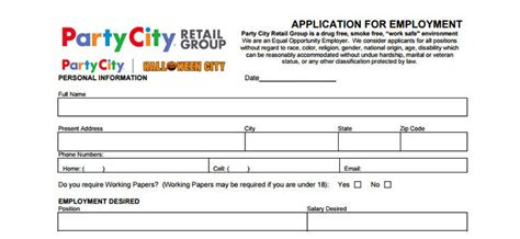 printable job application for party city party city application employment form job interview tips