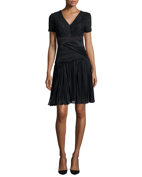 sleeve cocktail dress sleeve plisse cocktail dress in black lyst